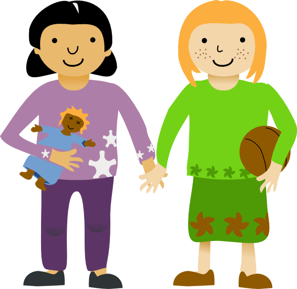 Two Little Girls Clip Art at Clker.com.