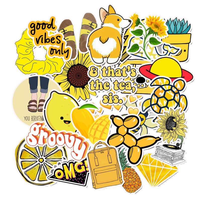 50 PCS Cartoon Yellow Stickers For Chidren Toy Waterproof Sticker to DIY  Suitcase Laptop Bicycle Helmet Car Decals.
