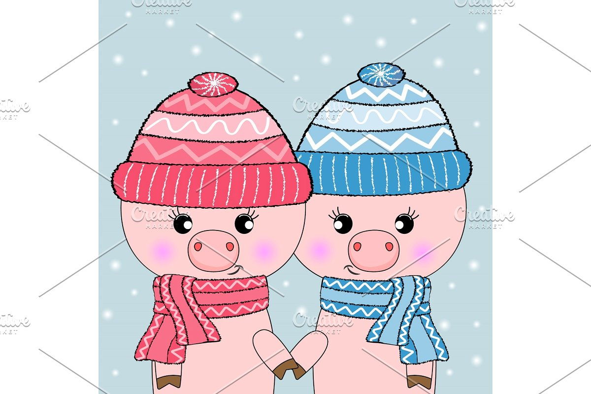 Two cute pigs. Hello Winter..