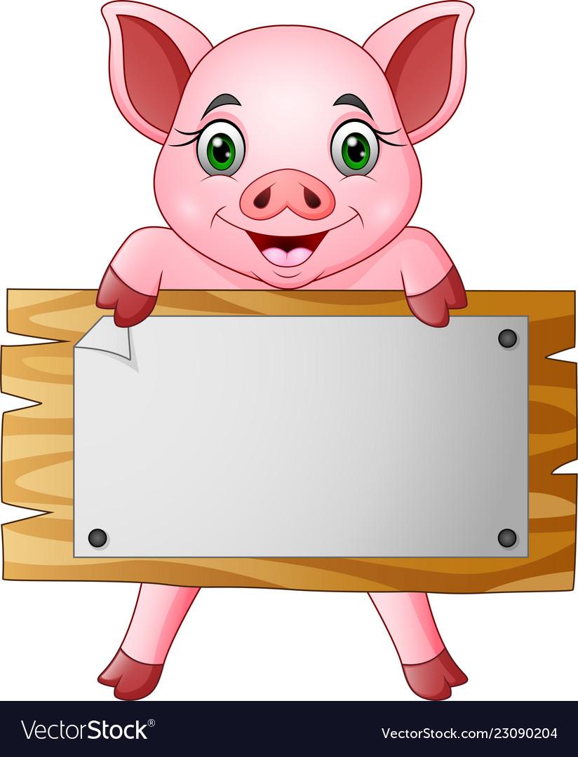 Cartoon little pig holding blank board.