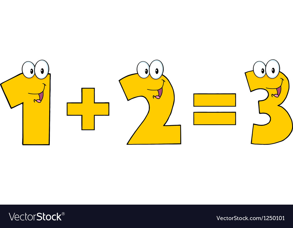 Yellow Number 1 Plus Number 2 vector image.