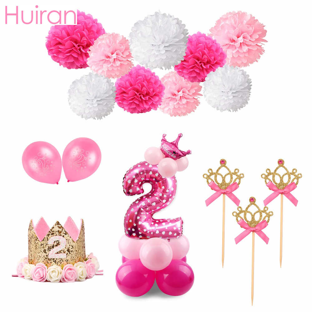 HUIRAN Pink 2nd Birthday Outfit 2 Year Birthday Party Decor.