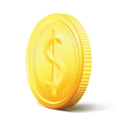 Exchange Money concept. Two sides vector golden coin Clipart.