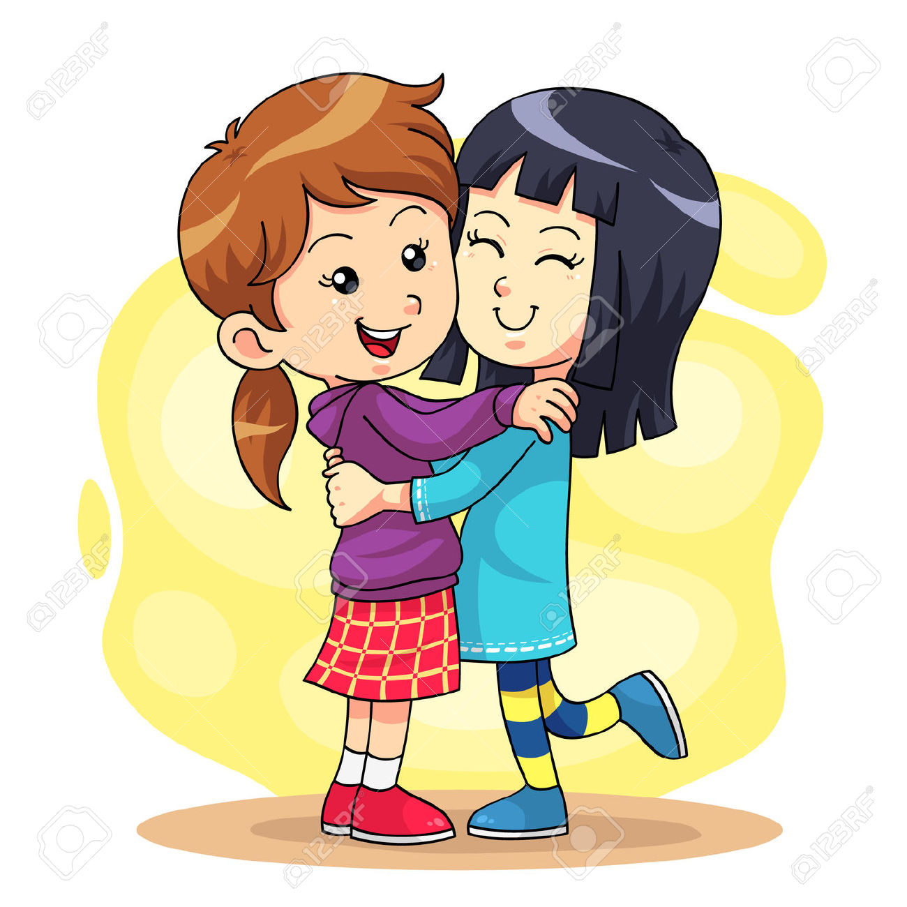 Two Sisters Hugging Clipart.