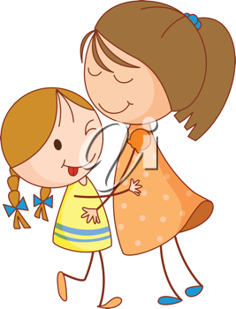 Illustration of 2 sisters embracing.