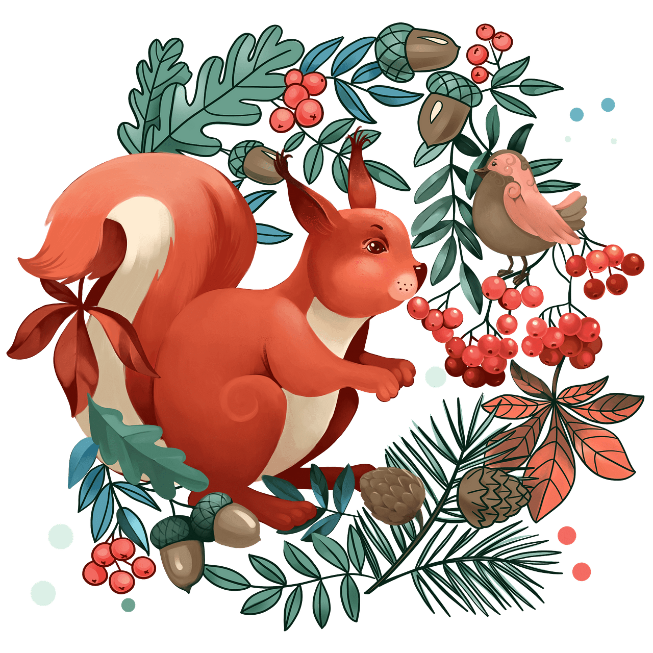 Squirrel in the forest clipart. Free download..
