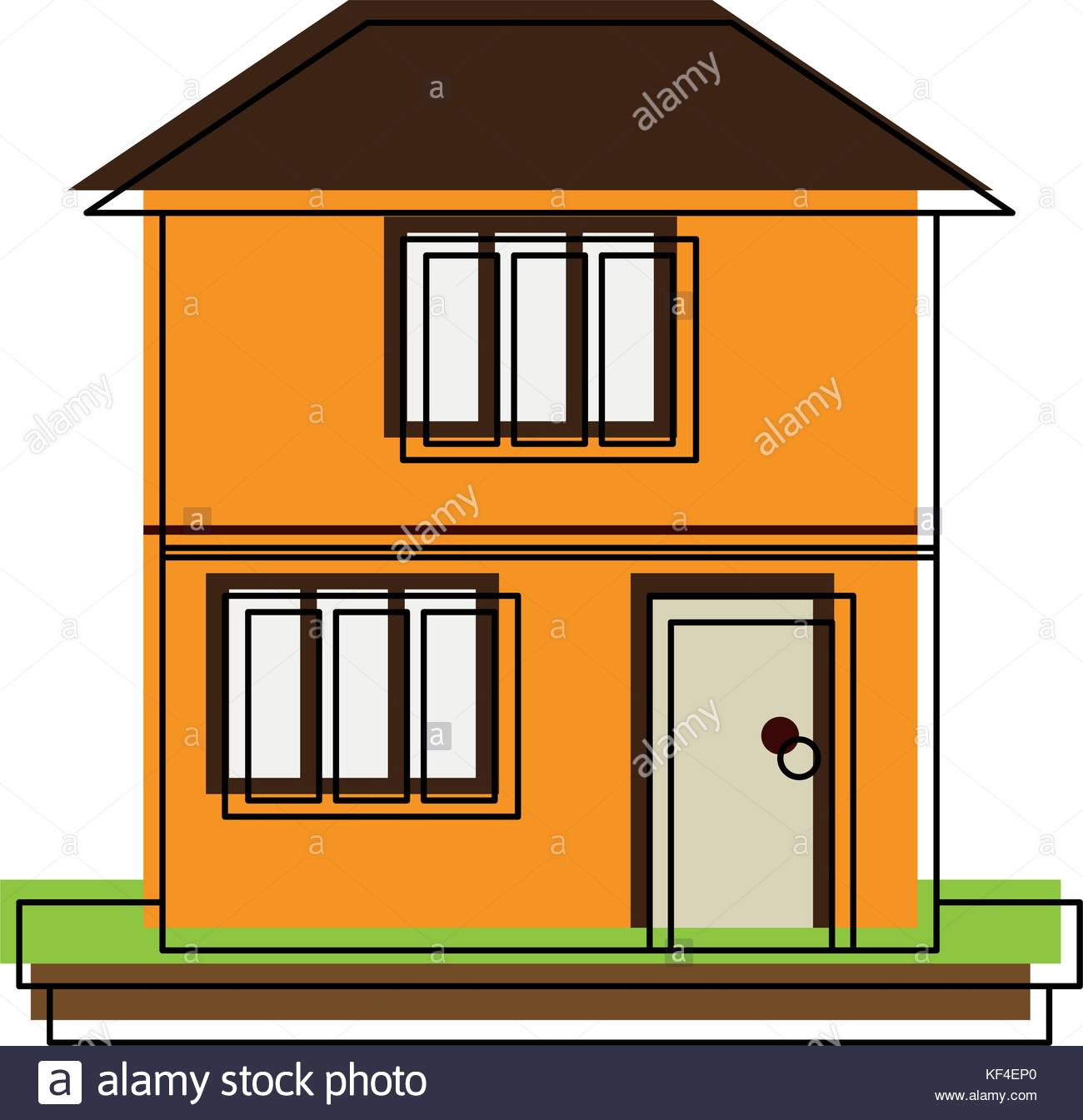 family home or two story house icon image Stock Vector Art.