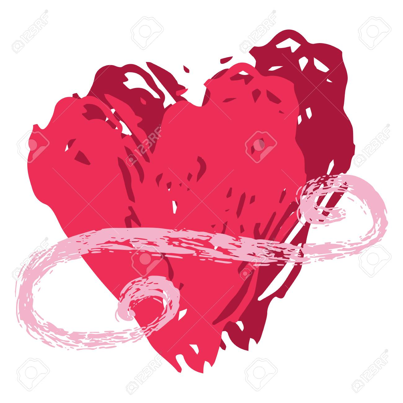 Brush Stroke Red Vector 2 Love Hearts Entwined Flourish Texture.
