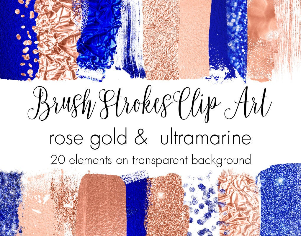 Buy 3 pay for 2 Brush strokes clipart rose gold foil stroke.