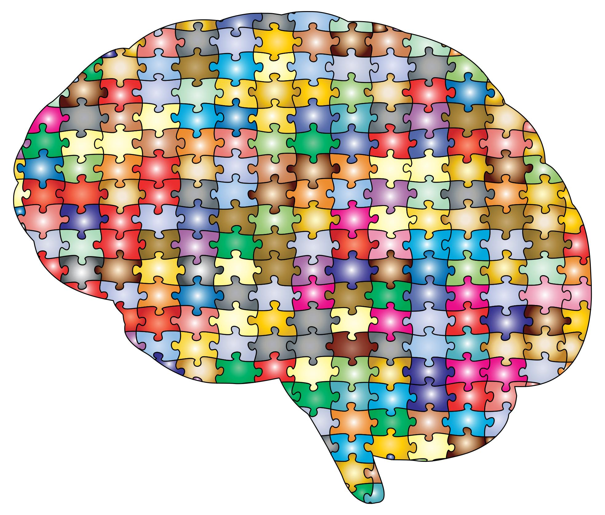 Brain Jigsaw Puzzle Prismatic With Stroke 2 Clipart.