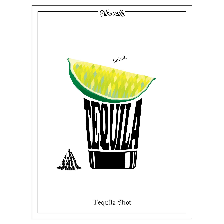 Cocktail Tequila Shot Digital Clip Art lime silhouette.