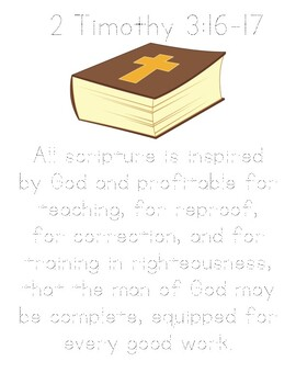 Memory Verse Tracer Page (2 Timothy 3:16.