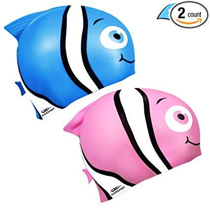 Kids Swim Cap, Pack of 2, Silicone Toddler Swim Caps for Boys and Girls,  Fun Design Waterproof Junior Swimming Cap Pink and Blue Age 3.