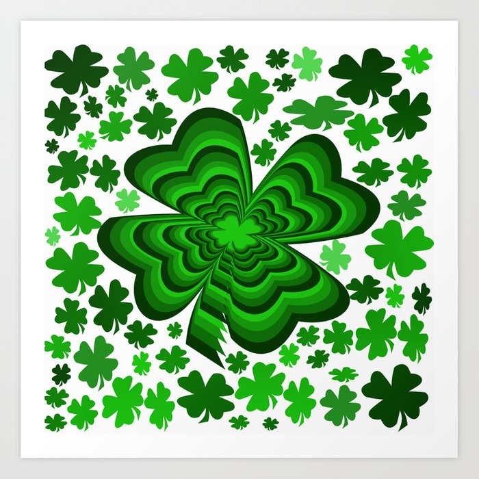 Lucky 4 Leaf Clover Art Print.