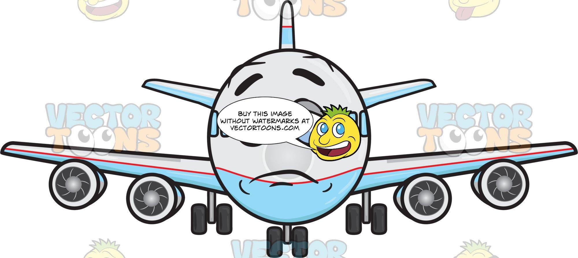 Sad Jumbo Jet Plane About To Cry Emoji.