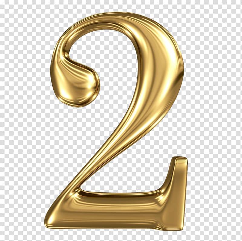 2, Number illustration, Golden Stereo 2 transparent.