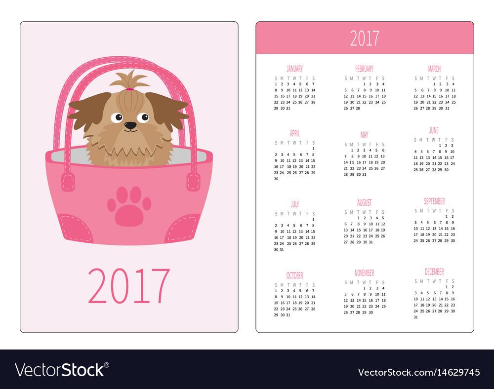 Pocket calendar 2017 year week starts sunday.