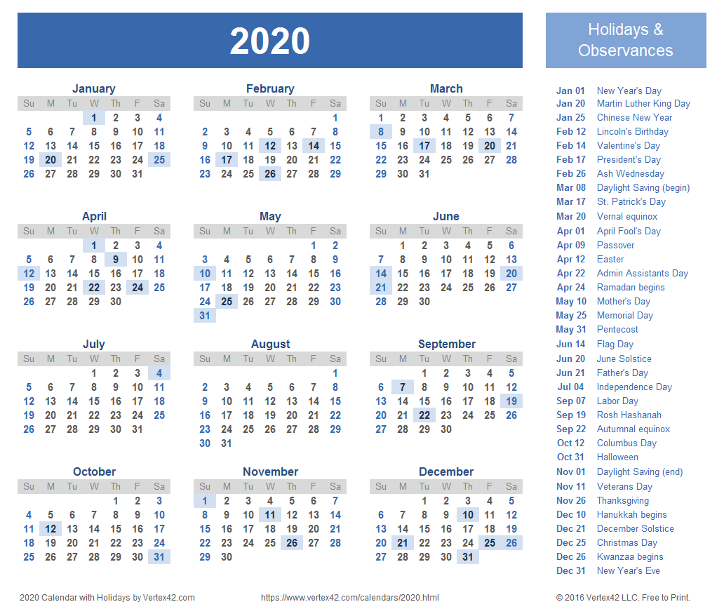 2020 Calendar Templates and Images.