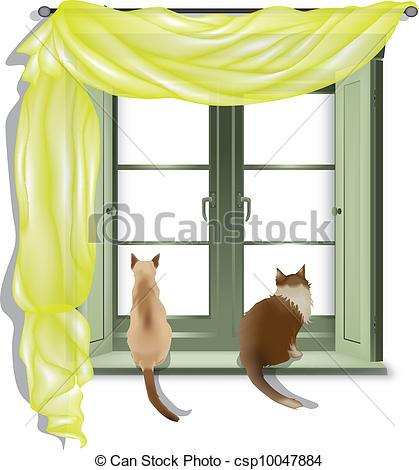 Vector of cats looking out of window 2.