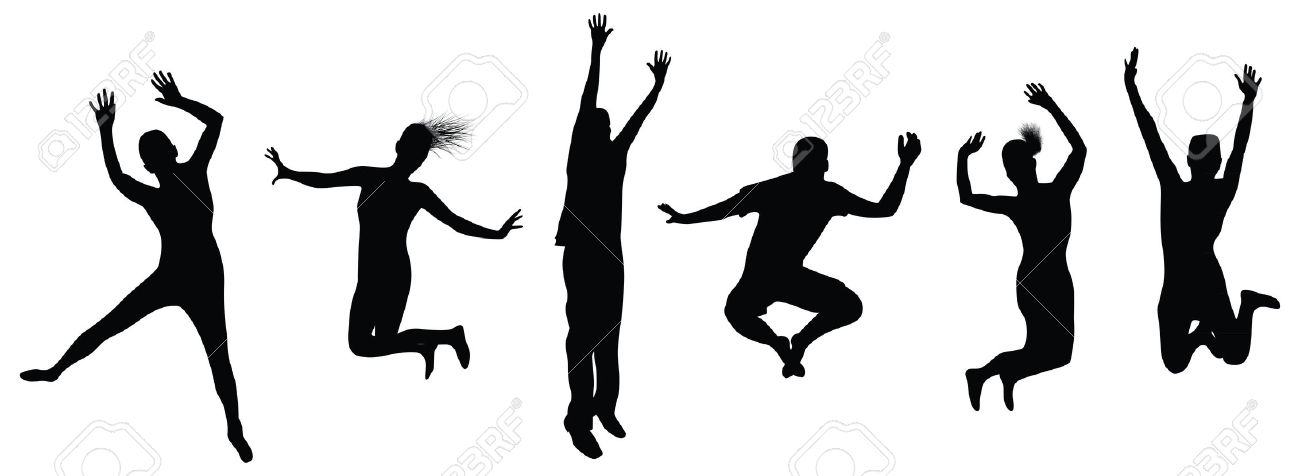 Silhouette Of People Jumping at GetDrawings.com.