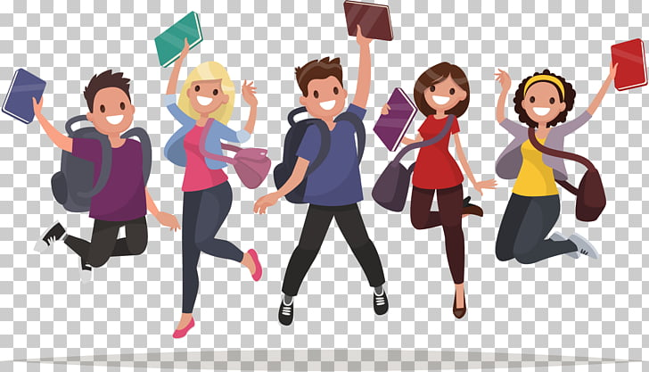 Student School, cartoon college students, three girls and.