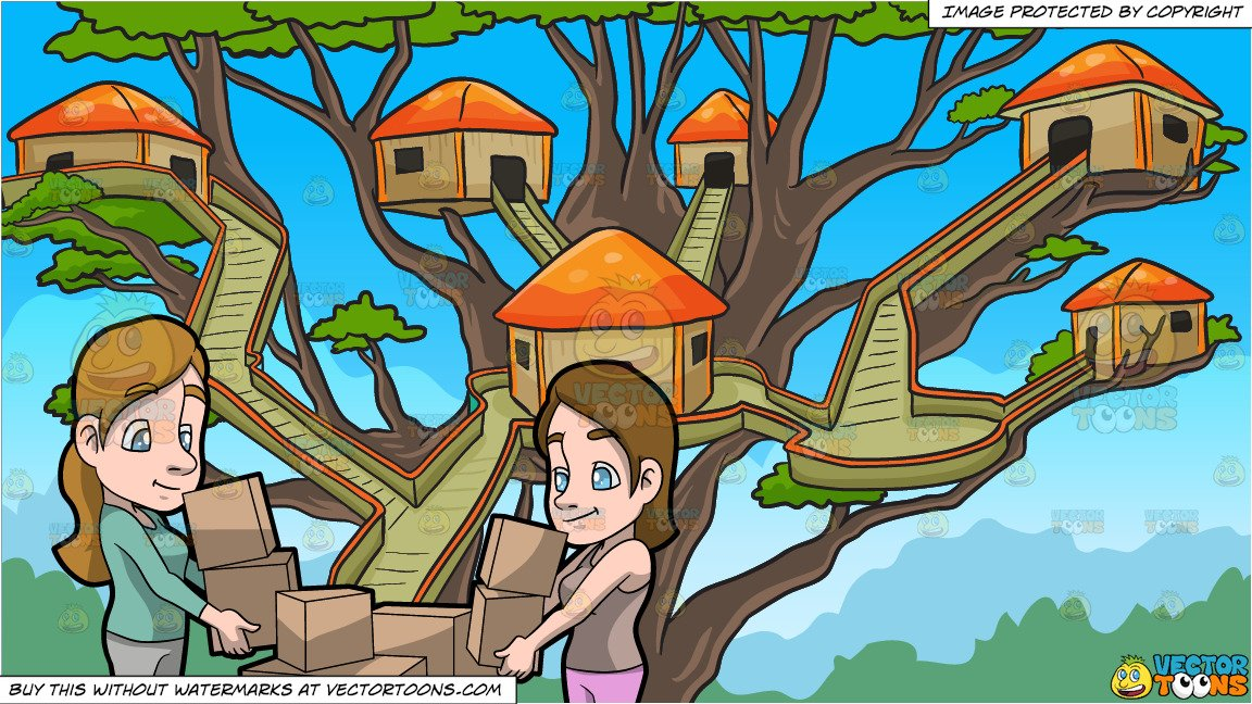 Two Women Carrying Boxes and A Tree House Village Background.