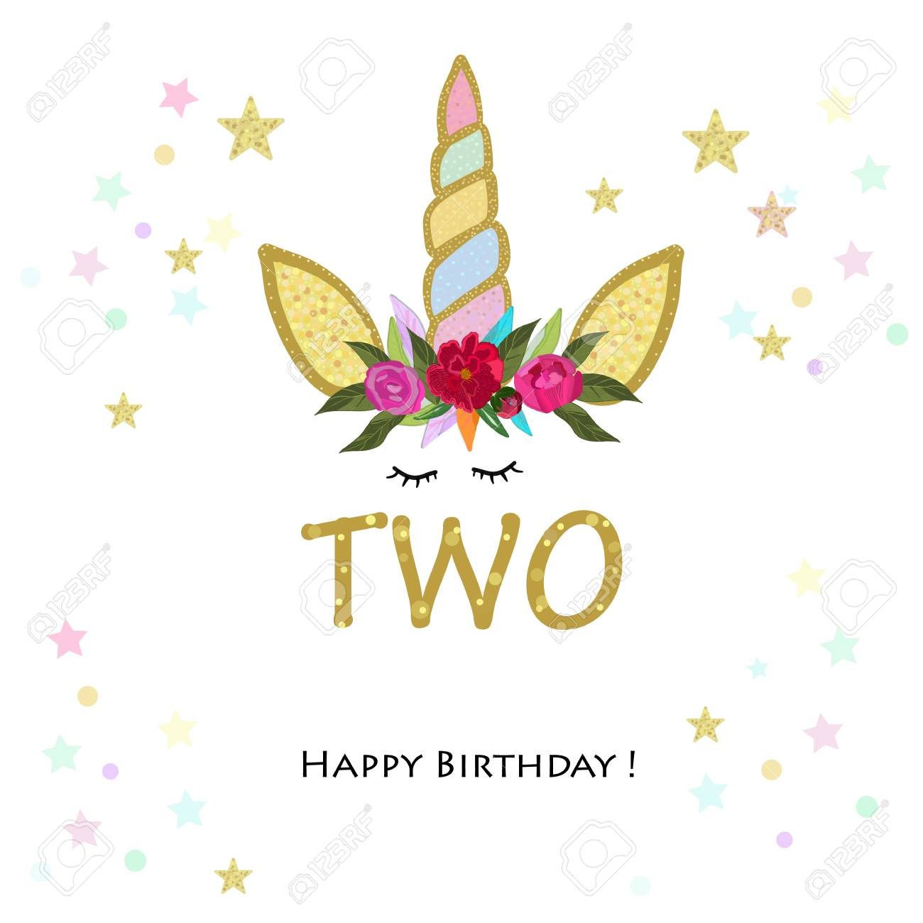 Birthday greeting card design for 2 year old template.