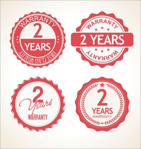 Two years warranty retro vintage badge and labels collection.