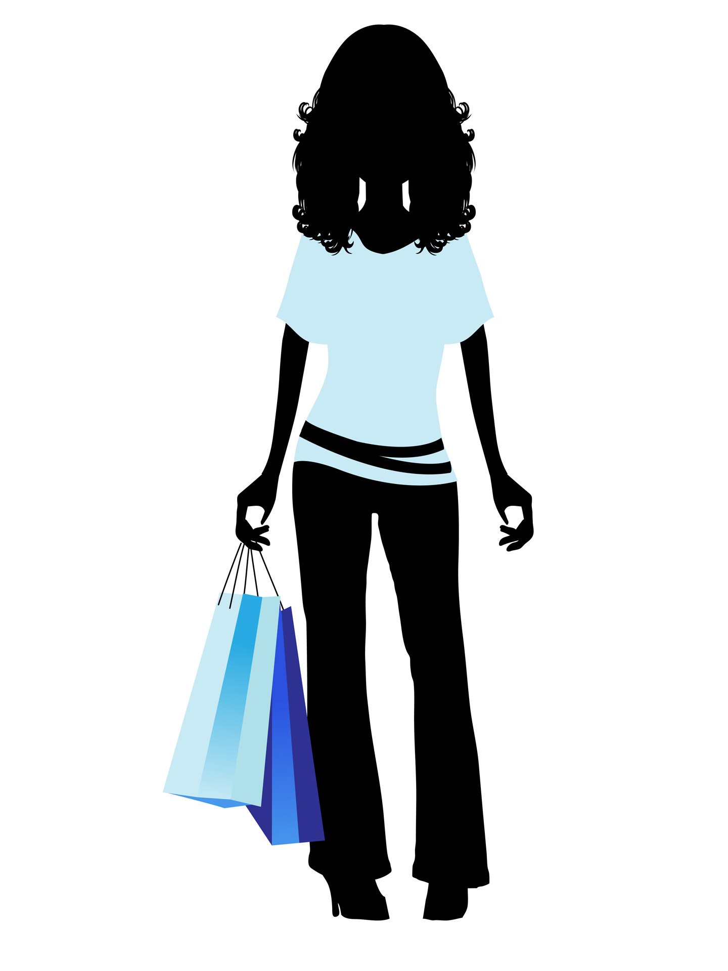 Black Silhouette Woman Purple Shopping Bag Png Fashion.