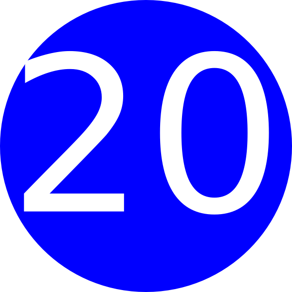 Number 20 Blue Background Clip Art at Clker.com.