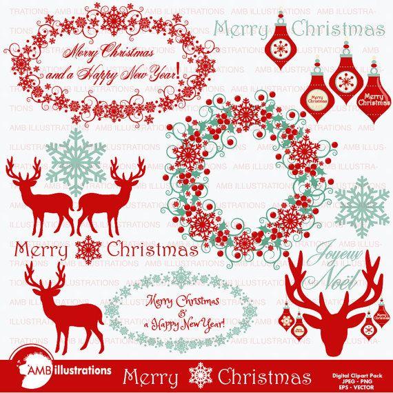 Christmas Clipart, Christmas Reindeer Clipart, Vintage.