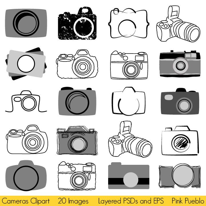 Camera Clipart Clip Art, Photography Logo Elements, Layered.