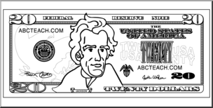 Clip Art: Twenty Dollar Bill Outline Front I abcteach.com.