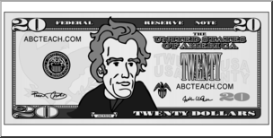 Clip Art: Twenty Dollar Bill Grayscale Front I abcteach.com.