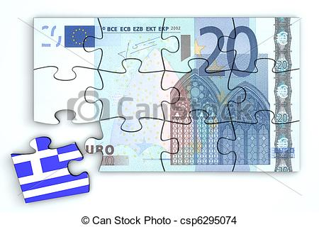 Drawing of 20 Euro Note Puzzle And a Greek Piece.