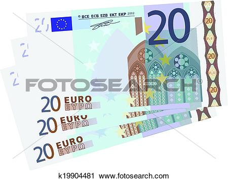 Clipart of Vector drawing of a 3x 20 Euro bill k19904481.