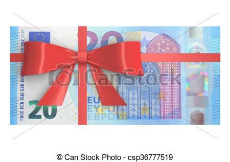 Clipart of Wad of 20 Euro banknotes with red bow, gift concept. 3D.