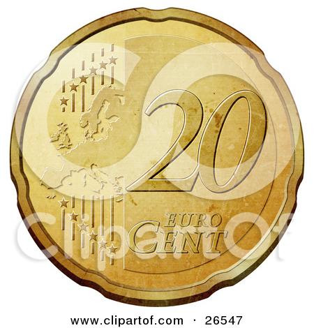Clipart Illustration of a Gold 10 Cent Euro Coin With A Map And.