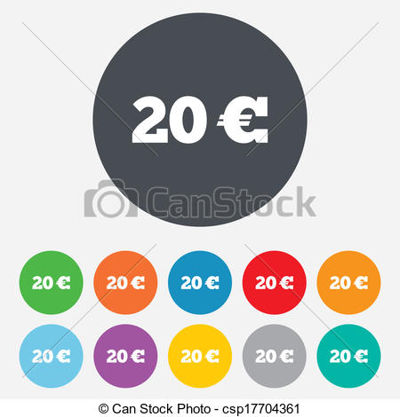 Clip Art Vector of 20 Euro sign icon. EUR currency symbol. Money.