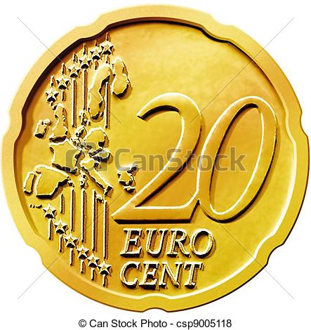 Stock Illustration of Twenty (20) Cent Euro Coin.