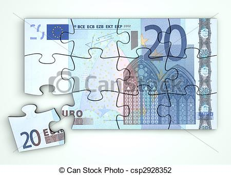 Clip Art of 20 Euro Note Puzzle.