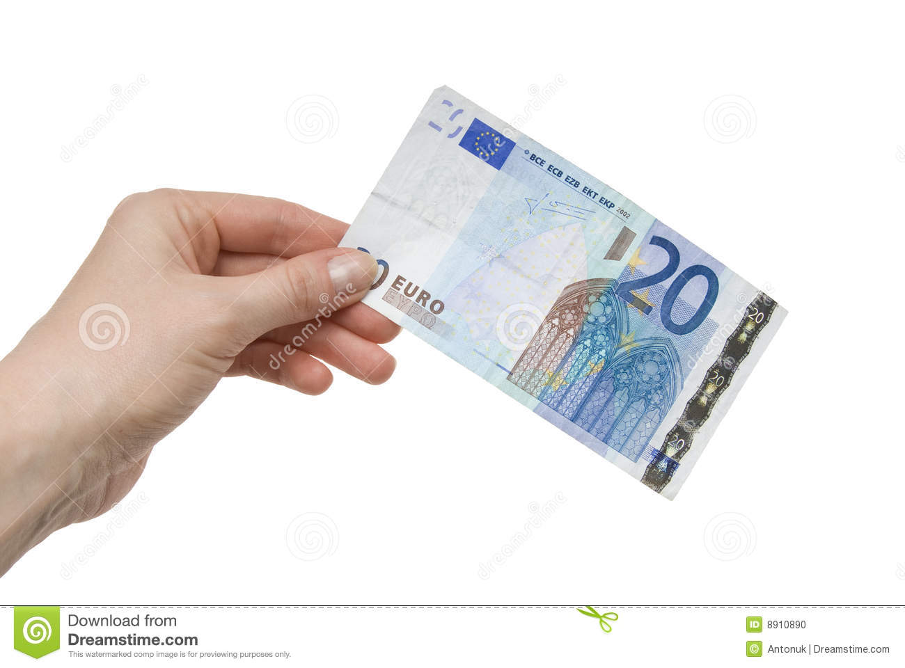 20 Euro In Hand Royalty Free Stock Photo.