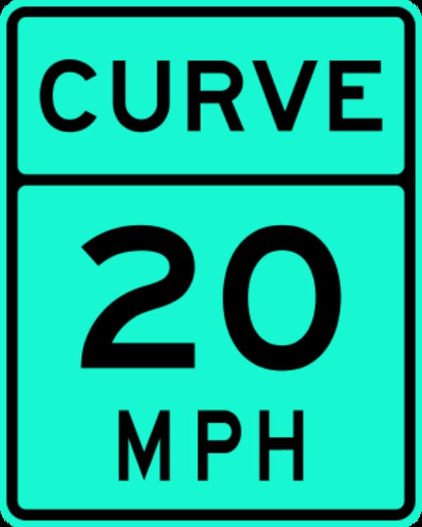 Curve 20 MPH Traffic Sign.
