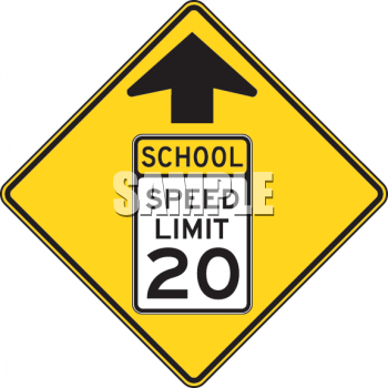 School Clipart Picture of Orange School Speed Limit 20 Sign.