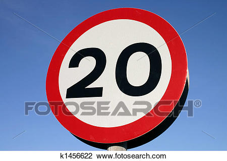 Stock Photo of 20 miles per hour speed limit sign k1456622.