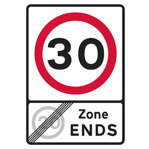 End of 20 mph zone and start of 30 mph speed limit.