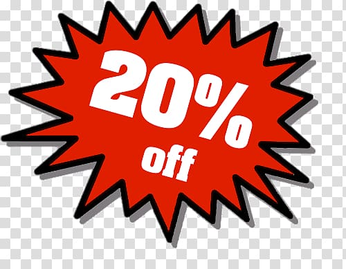 20% off logo, 20% Discount transparent background PNG clipart.