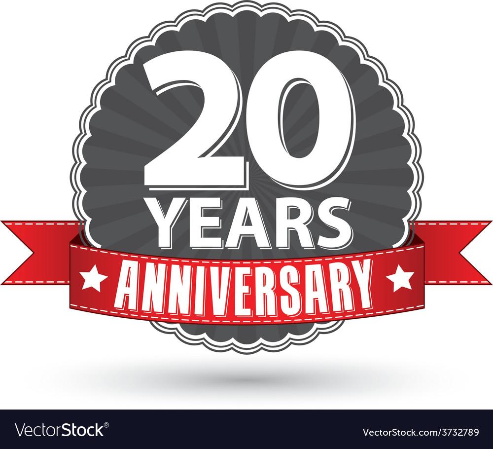 Celebrating 20 years anniversary retro label with.