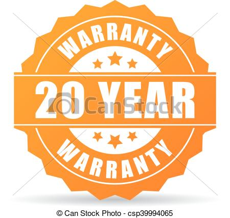 Clip Art Vector of 20 year warranty icon isolated on white.