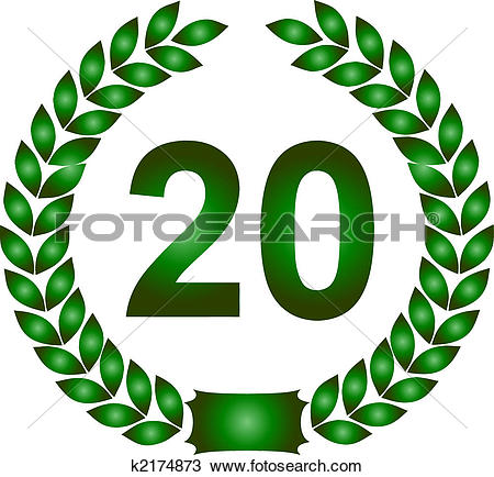 Stock Illustration of green laurel wreath 40 years k2174877.